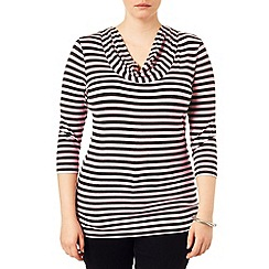 Studio 8 - Sizes 16-24 Charcoal and Pink suki stripe top