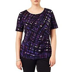 Studio 8 - Sizes 16-24 Purple tamsin painted grid top