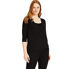Studio 8 - Sizes 12-26 Black ashley wrap top