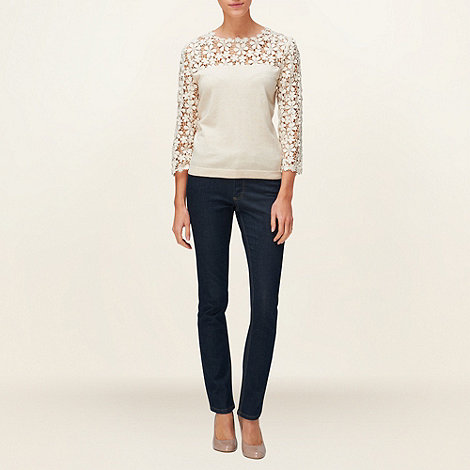 Phase Eight - Cream Suzy Lace Sleeve Jumper
