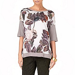 Phase Eight - Grey rowan rose print knit jumper