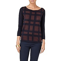 Phase Eight - Navy and wine chloe check jumper