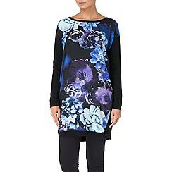 Phase Eight - Black mona print knit woven tunic