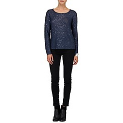 Phase Eight - Navy vicky zip back sequin knit jumper