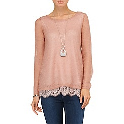 Phase Eight - Dusty Pink liz lace trim jumper
