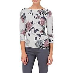 Phase Eight - Grey Marl raina print knit jumper