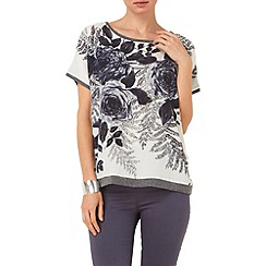 Phase Eight - Silver gainsborough rose print knit top
