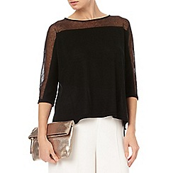 Phase Eight - Black sarina sheer shoulder knit top
