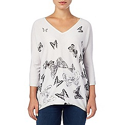 Phase Eight - Grey bendetta butterfly print knitted top