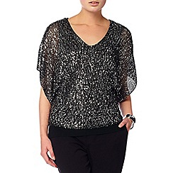 Phase Eight - Black and Silver antonella sequin double layer knit top