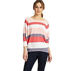 Phase Eight - Pink giorgia stripe linen knitted jumper