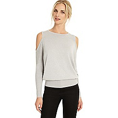 Phase Eight - Silver carissa shimmer cold shoulder top