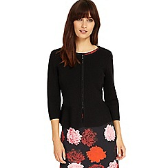 Phase Eight - Black poppy peplum knitted jacket
