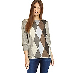 Phase Eight - Grey and blue alyssandra argyle knitted jumper