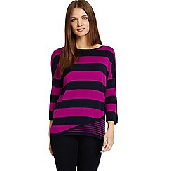 Phase Eight - Blue Devonna mix stripe knitted jumper