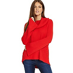 Phase Eight - Red 'Cadmium Cateline' cowl swing knitted jumper