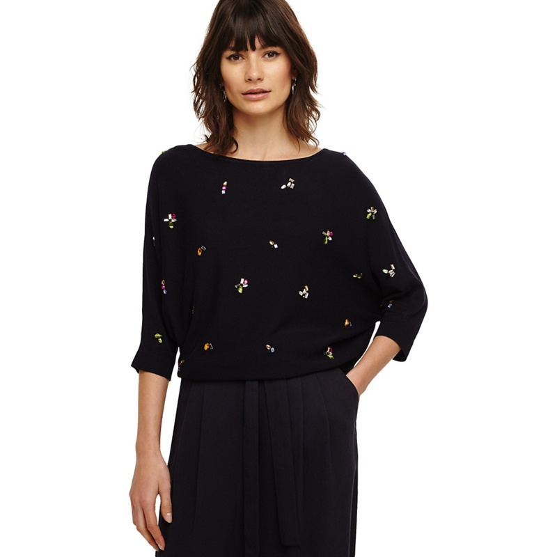 6e5005688dd Phase Eight Navy Cristine Jewel Knitted Jumper, Women's, Blue ...