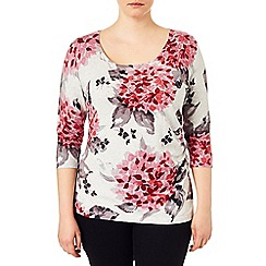 Studio 8 - Sizes 16-24 Pink hydrangea print jumper