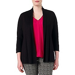 Studio 8 - Sizes 16-24 Black molly plain shawl collar cardigan