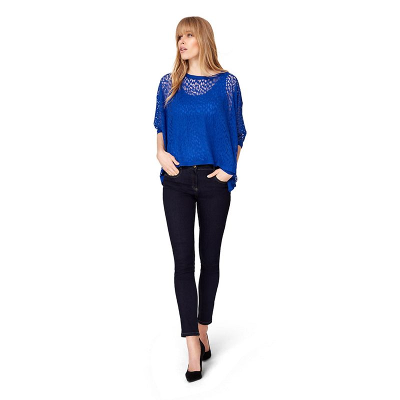 Damsel in a dress - Blue Akiko Animal Burnout Knit Jumper