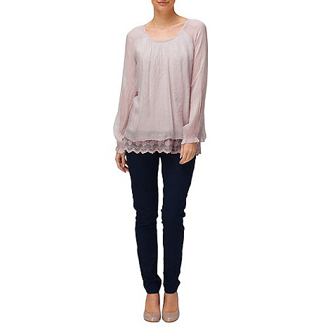 Phase Eight - Rose Padma Lace Trim Silk Blouse