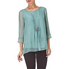 Phase Eight - Dusty Jade alana silk pintuck blouse