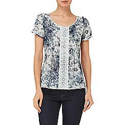 Phase Eight - Grey nanette print lace blouse