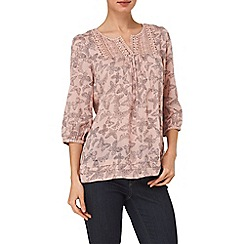 Phase Eight - Pale Pink bea butterfly crochet trim blouse