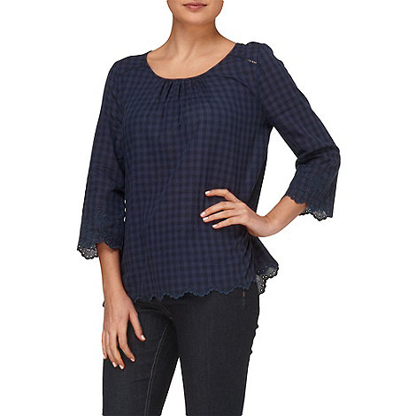 Phase Eight - Navy edie gingham blouse