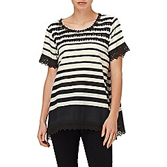 Phase Eight - Black and Ivory zena stripe and crochet lace top