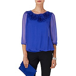 Phase Eight - Periwinkle rosette silk blouse