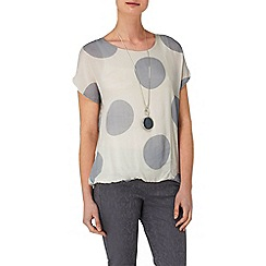 Phase Eight - Grey and Ivory allie spot cap sleeve blouse