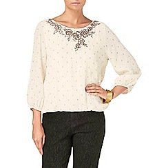 Phase Eight - Ivory and stone ness embroidered spot blouse