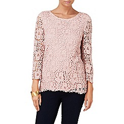 Phase Eight - Pale Pink zanna 3/4 sleeve crochet lace blouse