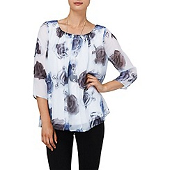 Phase Eight - Ivory and Blue maya rose silk blouse