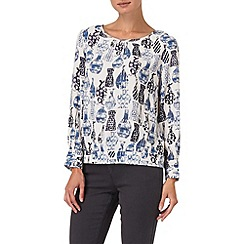 Phase Eight - Ivory and Blue vase print blouse