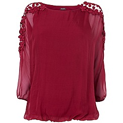 Phase Eight - Burnt red louise silk & lace blouse