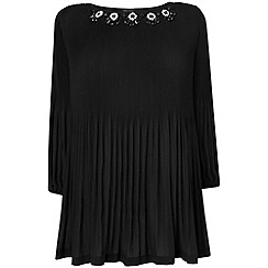 Phase Eight - Black tia embellished pleat blouse
