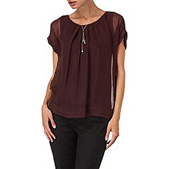 Phase Eight - Wine primrose silk gypsy blouse