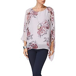 Phase Eight - Silver and Mauve rosa printed silk blouse
