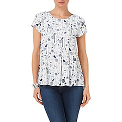 Phase Eight - Ivory and Cobalt dandelion blouse