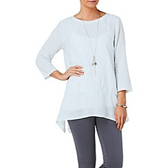 Phase Eight - Vapour blue una textured linen blouse