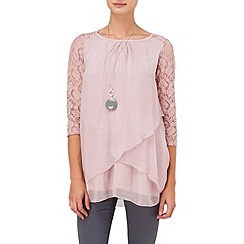 Phase Eight - Dusty pink livvie lace silk blouse