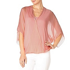 Phase Eight - Blush Pink hayden silk twist front kimono blouse