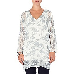 Phase Eight - Ivory and Silver blossom print v neck tunic