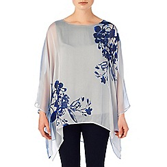 Phase Eight - Silver and Moody Blue cordelia silk print blouse