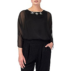 Phase Eight - Black rosa silk beaded blouse