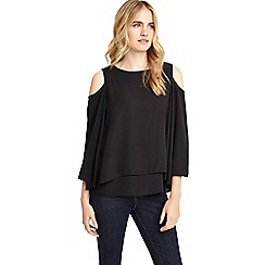 Phase Eight - Black Dania cold shoulder blouse