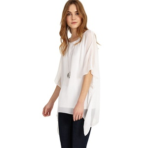 Phase Eight White maggie asymmetric silk blouse