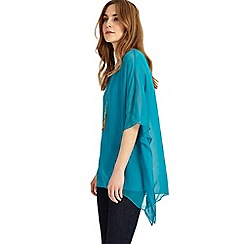 Phase Eight - Turquoise Maggie asymmetric silk blouse